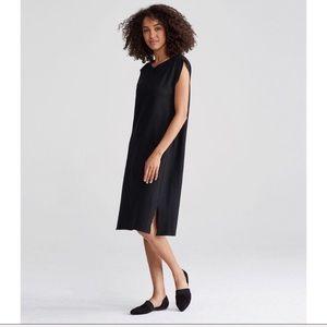 Eileen Fisher Black Wool Midi Shift Dress
